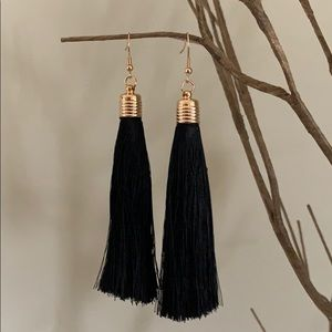 BOGO! Long Black Tassel Earrings